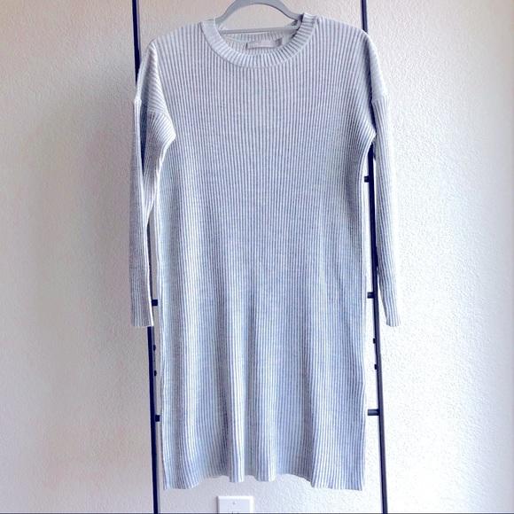 NWOT ASOS Light Grey Ribbed Knit Sweater Dress 4